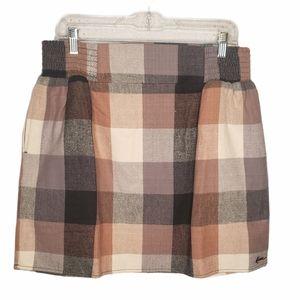 Kavu plaid mini skirt cotton gray cream tan